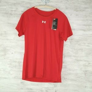 Under Armour Heatgear Shirt Sz M Red Short Sleeve